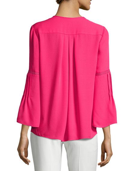 Orion Bell-Sleeve Silk-Georgette Blouse