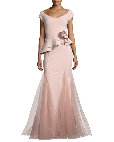 Lady Cap-Sleeve Peplum Mermaid Gown