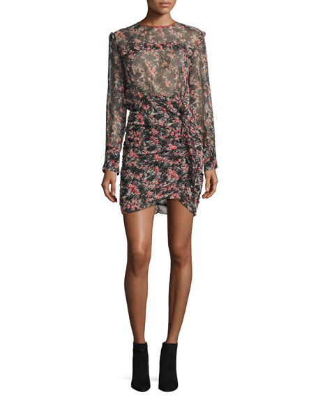 Jirvina Floral-Print Sheer Mini Dress, Red