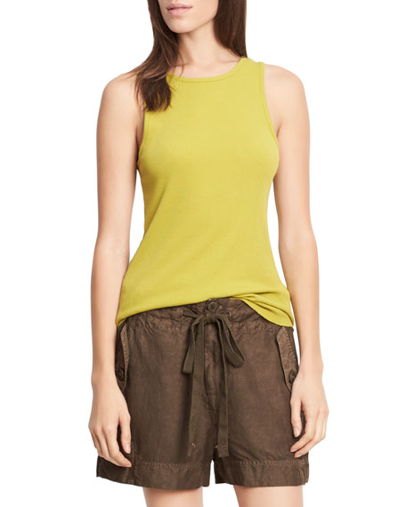 Image 1 of 1: High-Neck Shirttail Tank Top