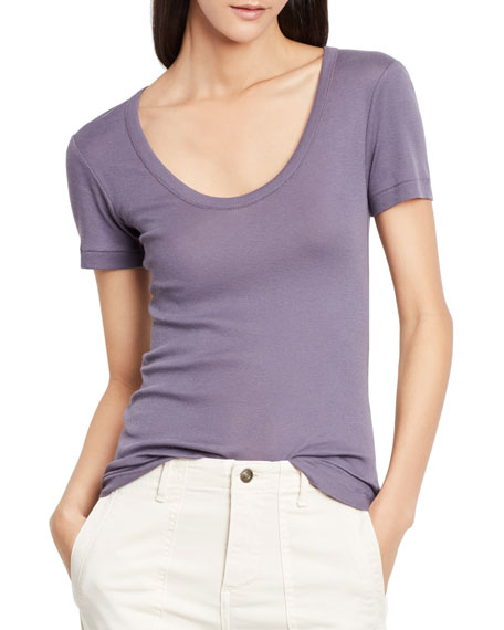 Image 1 of 1: Scoop-V-Neck Short-Sleeve Tee