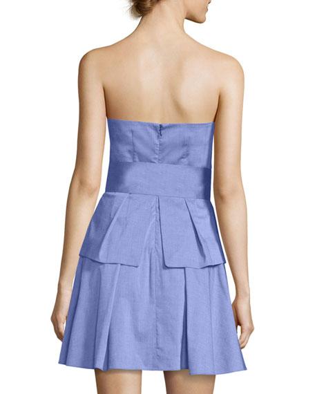 Kylie Strapless Ruffled Shirting Dress, Denim
