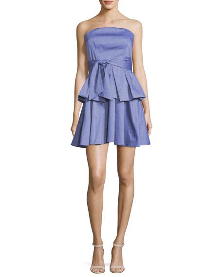 Milly Kylie Strapless Ruffled Shirting Dress, Denim