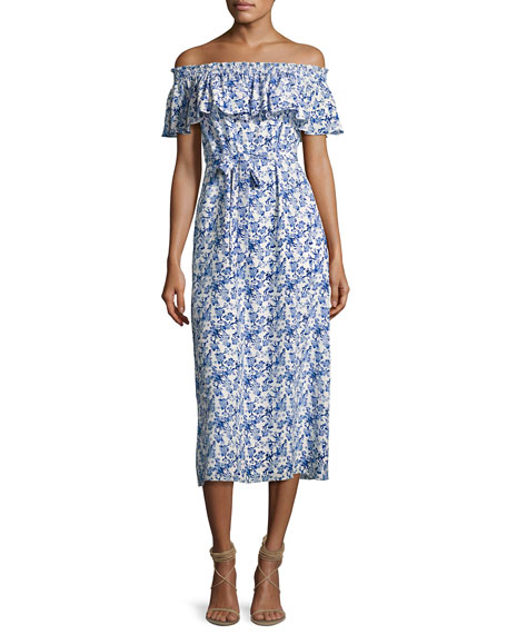 Rebecca Taylor Aimee Off-the-Shoulder Midi Dress