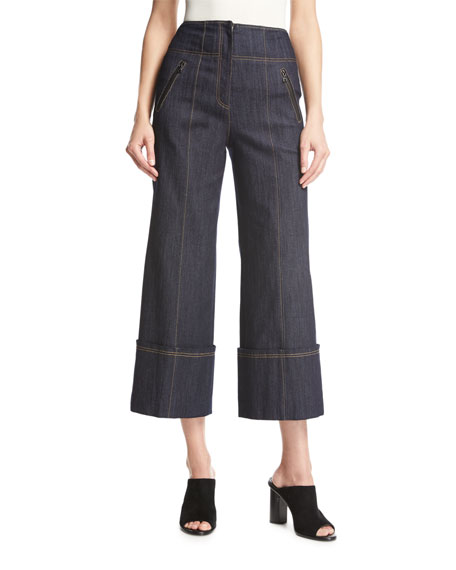 Marla High-Waist Wide-Leg Denim Pants, Blue