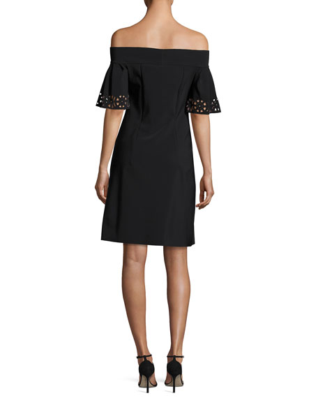Amice Off-the-Shoulder Laser-Cut Jersey Cocktail Dress