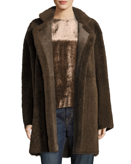 Reversible Teddy Shearling Fur Coat, Dark Willow