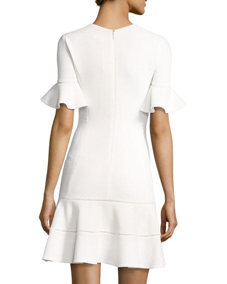 Short-Sleeve Textured V-Neck Dress, White