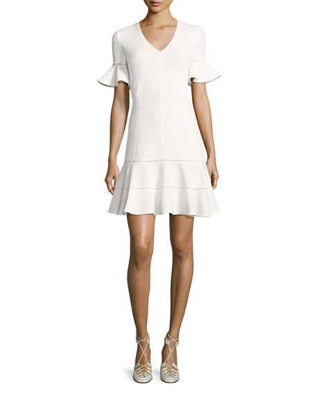 Short-Sleeve Textured V-Neck Dress, White