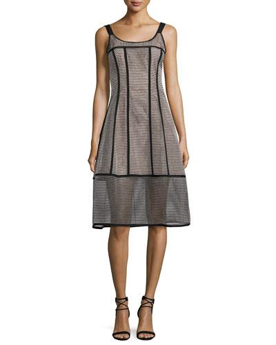 Sail Away Sleeveless Structured Mesh Stripe Dress  Black