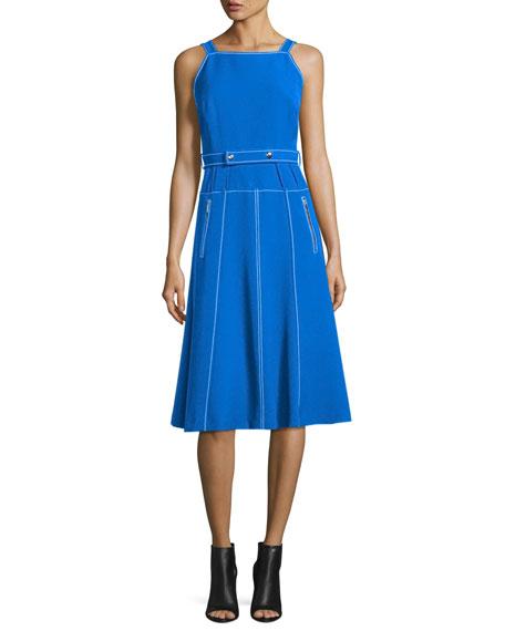 GREY by Jason Wu Sleeveless Topstitched A-Line Dress