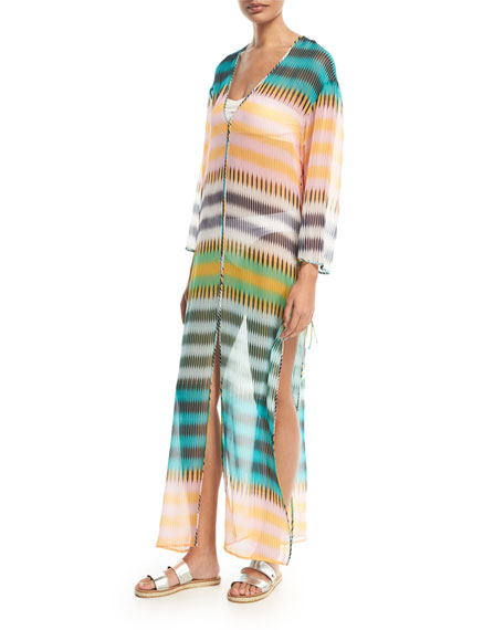 Image 1 of 1: Striped Floor-Length Silk Dress, Yellow Green Orange Multi