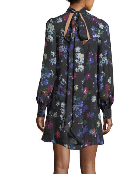 Sherie Long-Sleeve Painted Floral Georgette Silk Minidress
