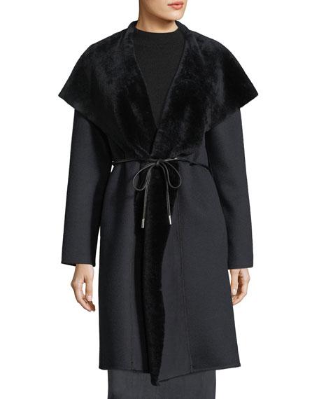 Farah Shearling Fur-Trim Coat