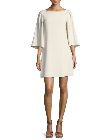 Halston Heritage 3/4-Sleeve Boat-Neck Short Cocktail Dress, Cream