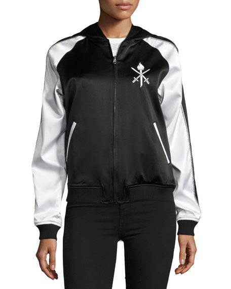 Torch Silk Track Bomber Jacket