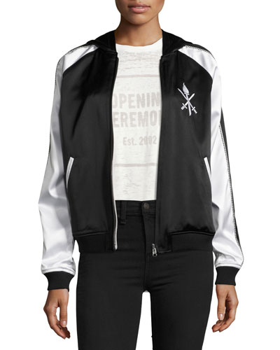 Torch Silk Track Bomber Jacket