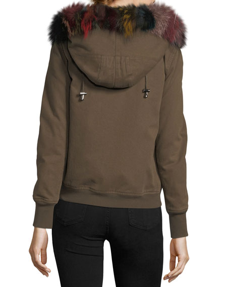 Hooded Canvas Bomber Jacket w/ Fur Trim