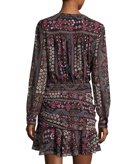 Edison Ruched Flounce-Hem Printed Dress