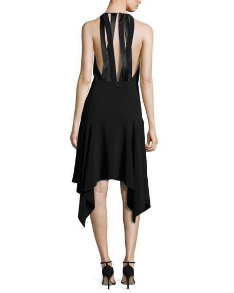 Sleeveless Stretch Crepe Handkerchief Cocktail Dress