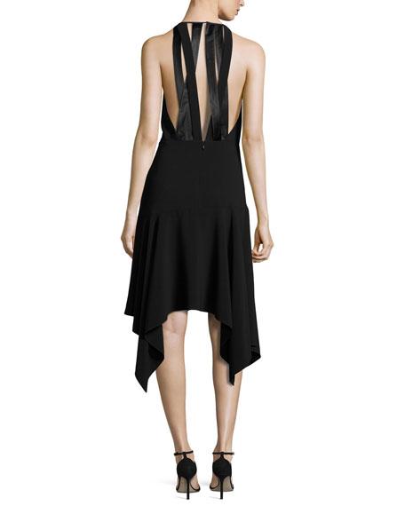Sleeveless Stretch Crepe Handkerchief Cocktail Dress