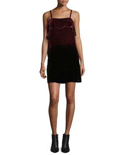 Bess Ombre Velvet Sleeveless Slip Dress