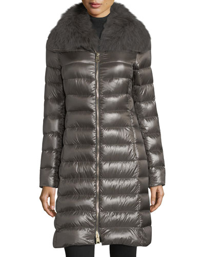 Fur-Collar Long Puffer Coat