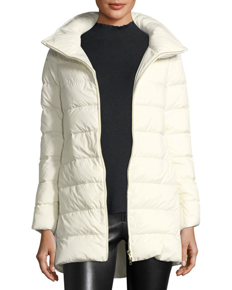 Knit-Back Ribbed Down Puffer Jacket