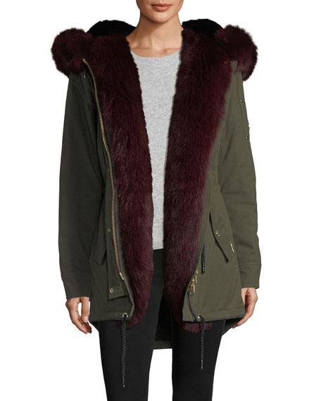 Stellar Long-Sleeve Hooded Canvas Parka Jacket w/ Fur Trim