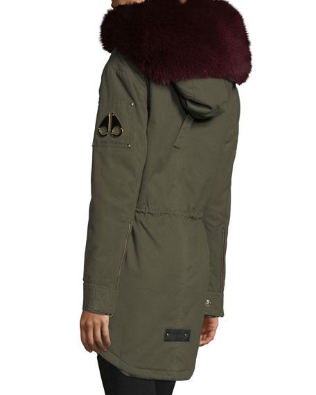 Stellar Long-Sleeve Hooded Canvas Parka Jacket w/ Fur Trim