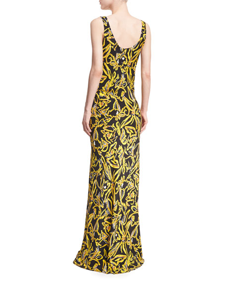Sleeveless Bias Slip Scoop-Neck Printed Silk Evening Gown
