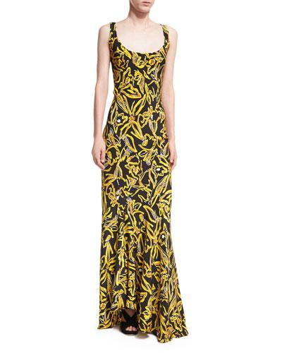 Sleeveless Bias Slip Scoop-Neck Printed Silk Evening Gown