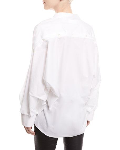 Mom Button-Front Long-Sleeve Poplin Shirt