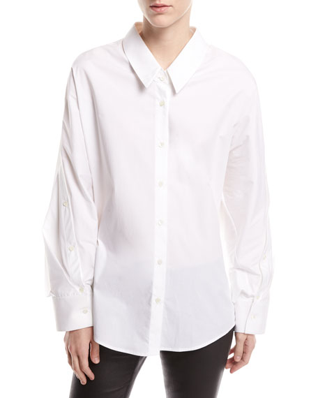 Image 1 of 1: Mom Button-Front Long-Sleeve Poplin Shirt
