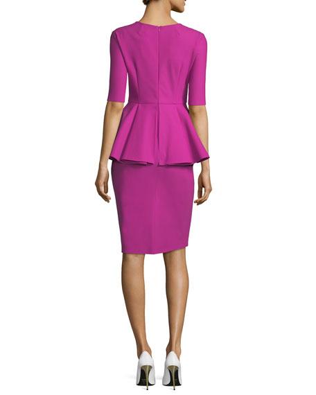 Lola Half-Sleeve Tech-Stretch Peplum Cocktail Dress