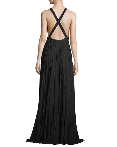 Fiona Plunging V-Neck Pleated Chiffon Dress