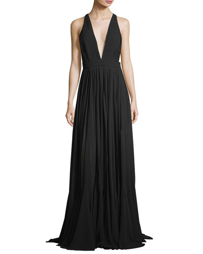 Fiona Plunging V-Neck Pleated Chiffon Dress