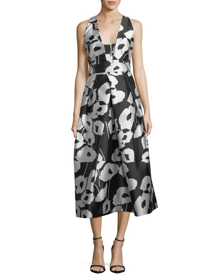 Paris Poppy Floral-Print Twill Evening Dress