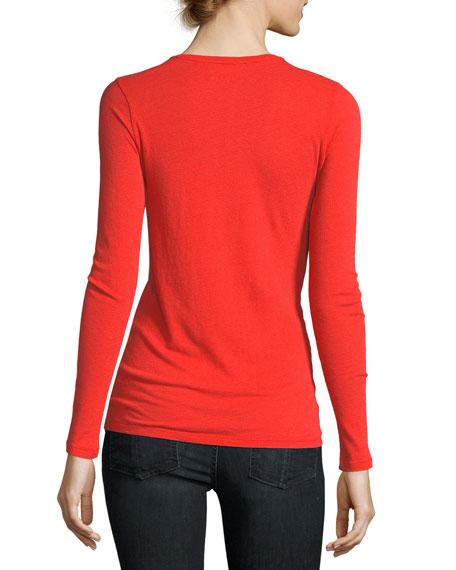 Cotton/Cashmere Knit V-Neck Top