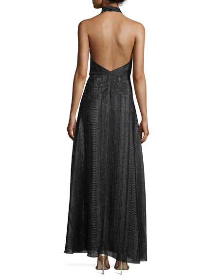 Halter Surplice Pleated A-Line Metallic Evening Gown