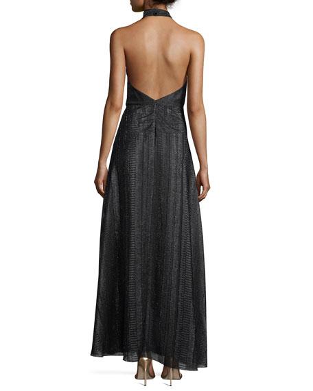 Halter Surplice Pleated A-Line Metallic Evening Gown