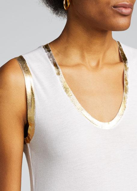 Tam Scoop-Neck Golden-Foil Tank