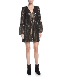 Lady Marmalade V-Neck A-Line Sequined Mini Cocktail Dress
