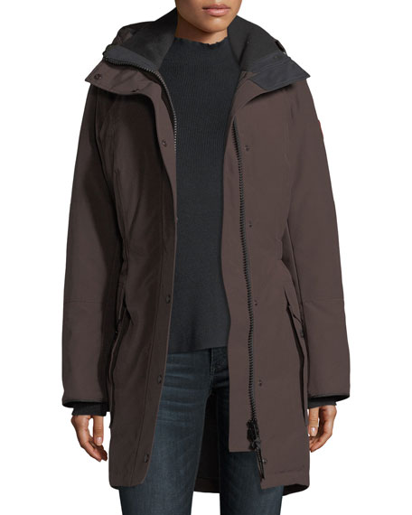 Kinley Hooded Cinched-Waist Parka Coat