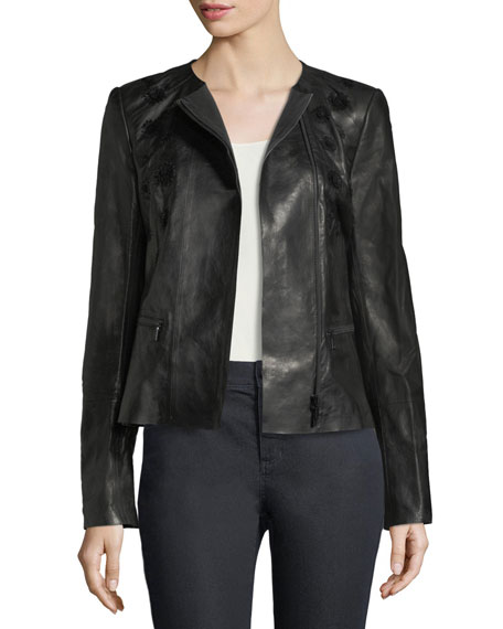 Caridee Floral-Appliqué Leather Jacket