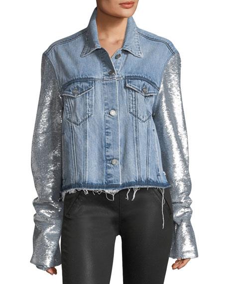 Haylee Button-Front Denim Jacket w/ Sequin Sleeves
