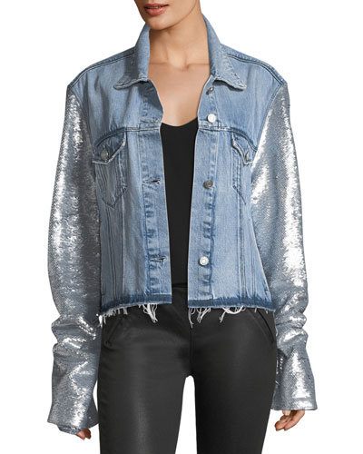Haylee Button-Front Denim Jacket w/ Sequin Sleeves