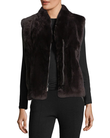 POLOGEORGIS Zip-Front Fur Vest in Dark Gray