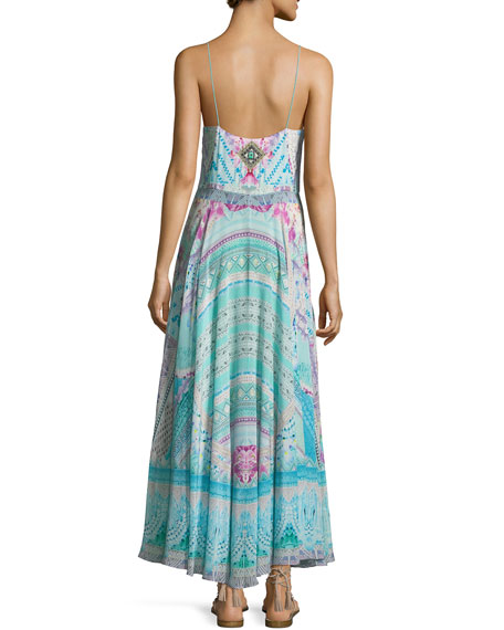 Tie-Front Silk Printed Dress