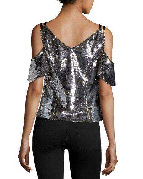 06378109ec6b4 Nanette Lepore Cold-Shoulder Sparkle Sequin Top. Cold-Shoulder Sparkle  Sequin Top. Cold-Shoulder Sparkle Sequin Top